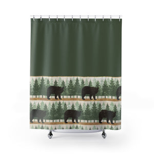 Green With Bears and Pine Trees Contrast Shower Curtain