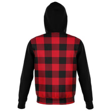 Load image into Gallery viewer, Buffalo Plaid and Black Cotton Polyester Blend Zip Hoodie