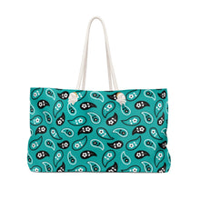Load image into Gallery viewer, Turquoise Paisley Pattern Weekender Bag Beach Back With Rope Handles