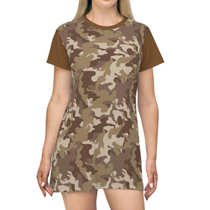 Camo T-Shirt Dress Brown and Tan Desert Camouflage Pattern Tunic Length