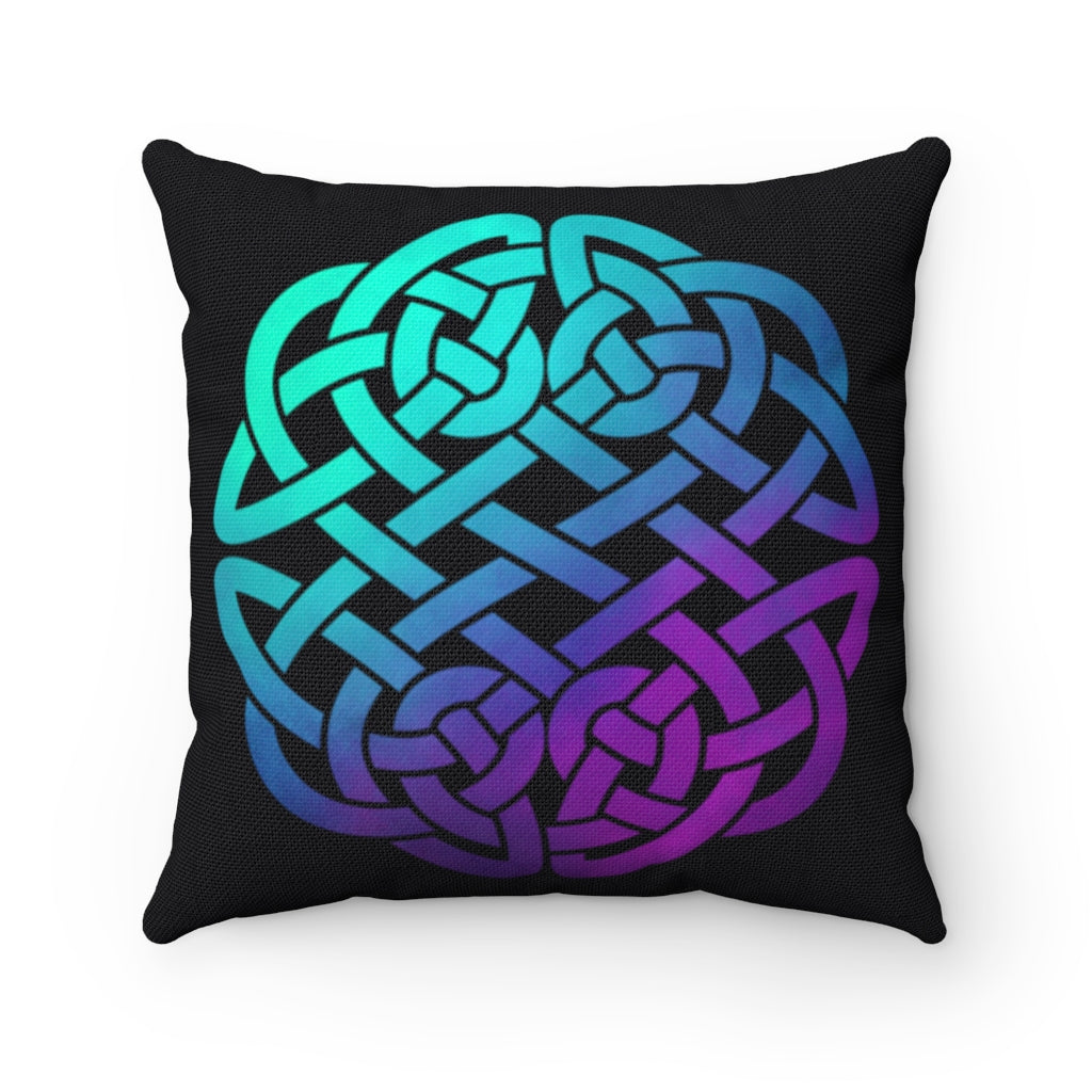 Colorful Ombre Celtic Knot Spun Polyester Square Pillow
