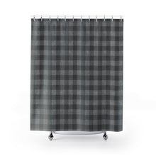Load image into Gallery viewer, Gray Faux Denim Buffalo Plaid Pattern Shower Curtain Rustic Home Decor