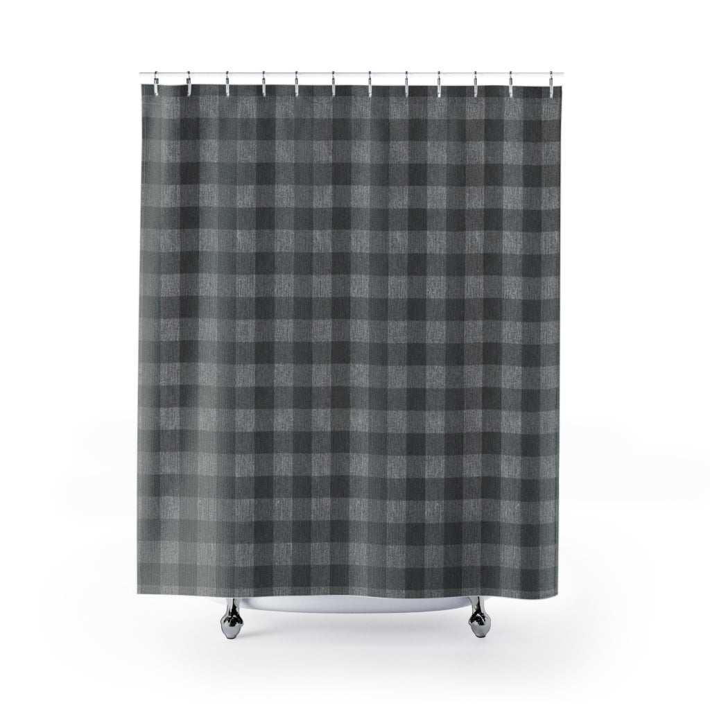 Gray Faux Denim Buffalo Plaid Pattern Shower Curtain Rustic Home Decor