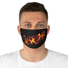 Load image into Gallery viewer, Tribal Flames in Red, Orange and Yellow on Printed Black Cloth Fabric Face Mask
