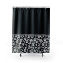 Load image into Gallery viewer, Baroque Shower Curtain In Black Contrast Color Block Pattern