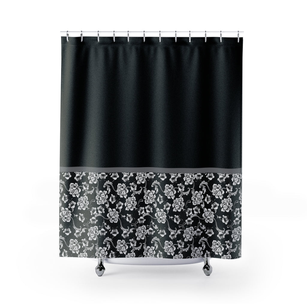 Baroque Shower Curtain In Black Contrast Color Block Pattern