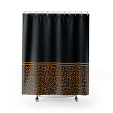 Load image into Gallery viewer, Black With Leopard Print Contrast Design Shower Curtain