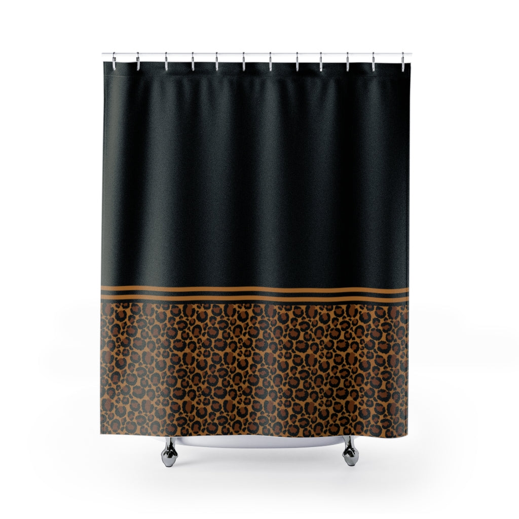 Black With Leopard Print Contrast Design Shower Curtain