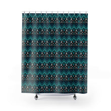 Load image into Gallery viewer, Teal Blue Ethnic Pattern Shower Curtain