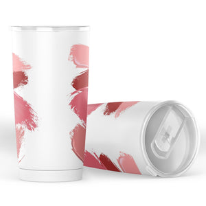 White With Lipstick Smudges and Smears Makeup Design Insulated Travel Coffee Mug Water Cup Stainless Steel