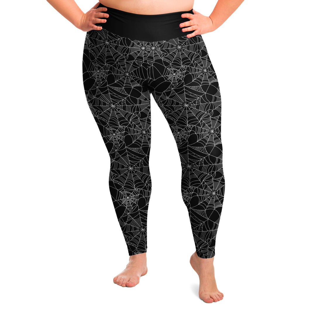 Spiderweb Leggings Black and White Plus Size 2X - 6X Squat Proof