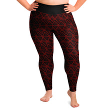 Load image into Gallery viewer, Red and Black Ethnic Pattern Aztec Boho Tribal Plus Size Leggings 2X-6X Squat Proof