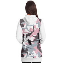 Load image into Gallery viewer, White and Pastel Mauve Camouflage Longline Hoodie Dress With Solid White Sleeves, Pocket and Hood