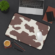 Load image into Gallery viewer, Dark Brown Cow Hide Print Black and White Desk Mat Keyboard Pad