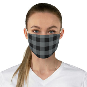 Gray and Black Buffalo Plaid Printed Cloth Fabric Face Mask Country Buffalo Check Farmhouse Pattern
