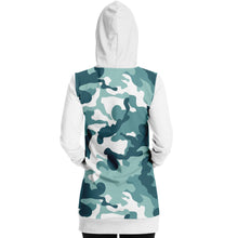 Load image into Gallery viewer, White and Minty Teal Camouflage Pattern Longline Hoodie Dress With Solid White Sleeves, Pocket and Hood