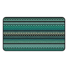 Load image into Gallery viewer, Turquoise, Tan and Black Ethnic Pattern Desk Mat Large