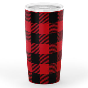 Red Buffalo Plaid Insulated 20oz Stainless Steel Travel Mug Hot or Cold