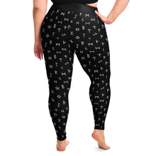 Load image into Gallery viewer, Black With Norse Runes Plus Size Leggings 2X-6X Squatproof