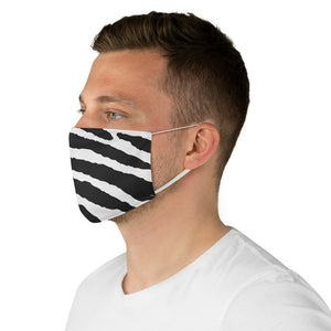 White and Black Tiger Stripes Printed Fabric Fashion Face Mask Animal Print