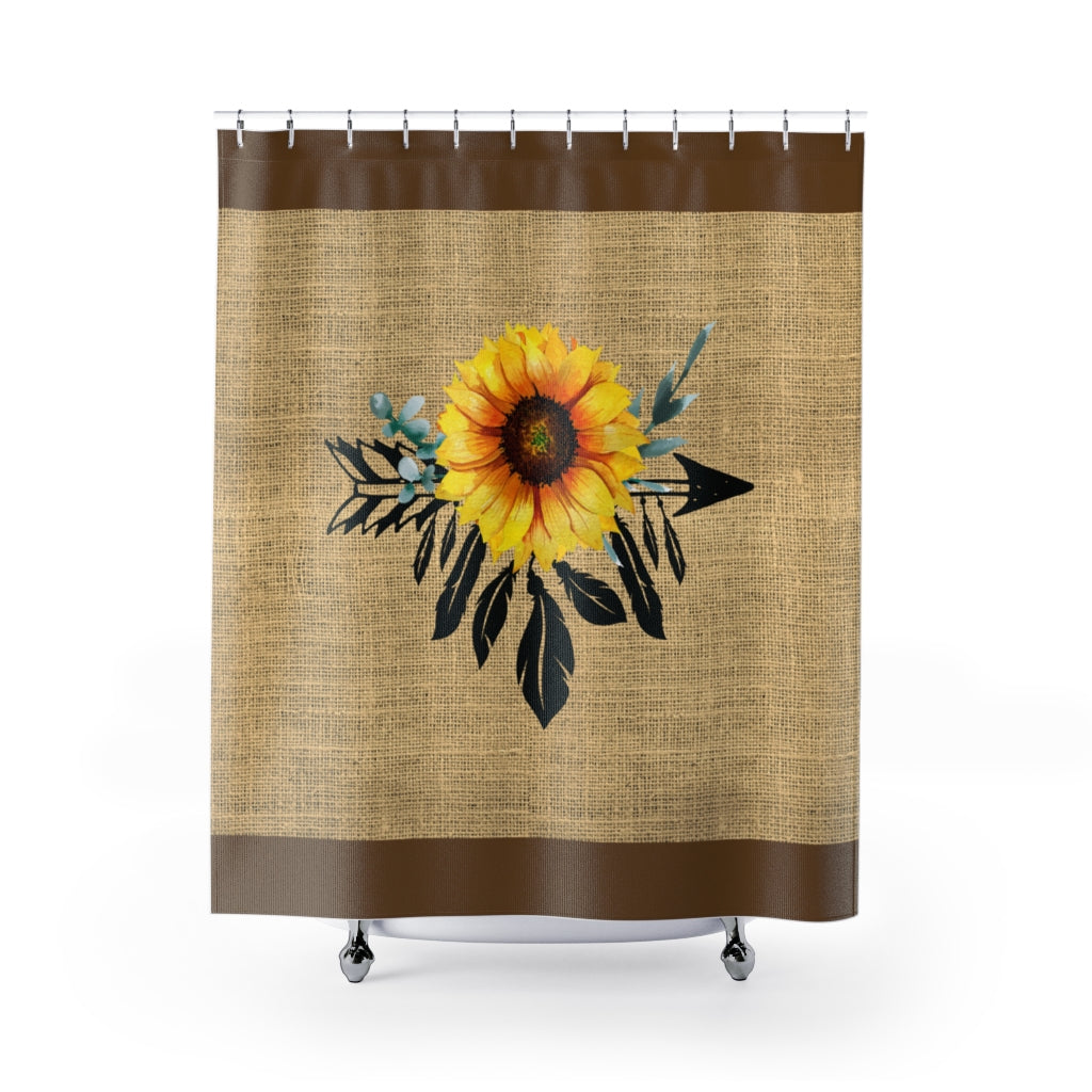 Sunflower Dreamcatcher on Boho Rustic Burlap Style Printed Shower Curtain With Brown Trim