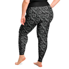 Load image into Gallery viewer, Black and Gray Tie Dye Plus Size Leggings 2X-6X Squat Proof