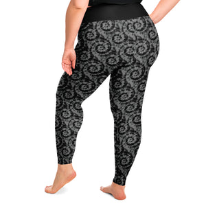 Black and Gray Tie Dye Plus Size Leggings 2X-6X Squat Proof