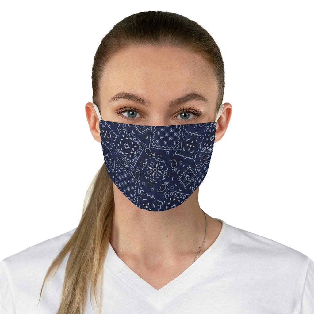 Blue and White Bandana Pattern Print Cloth Fabric Face Mask