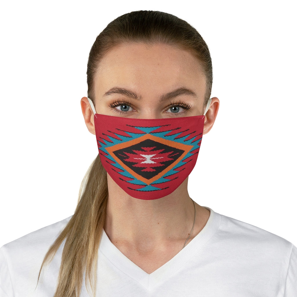 Ethnic Red and Blue Colorful Pattern Printed Fabric Face Mask Aztec Tribal