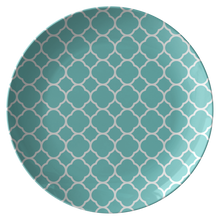 Load image into Gallery viewer, Turquoise Quatrefoil Unbreakable Plate