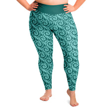 Load image into Gallery viewer, Teal Tie Dye Pattern Plus Size Leggings