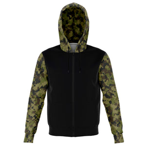 Camo and Black Contrast Hoodie With Green, Brown and Gray Camouflage Sleeves and Hood