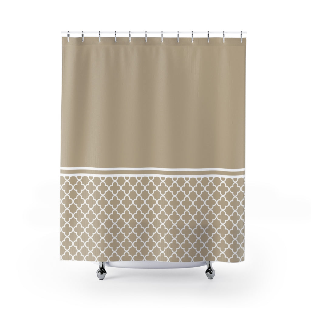 Tan and White Quatrefoil Color Block Contrast Shower Curtain