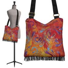 Load image into Gallery viewer, Colorful Batik Design Printed Canvas Boho Bag With Fringe and Crossbody Shoulder Strap Purse