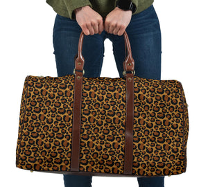 Leopard Print Travel Bag Duffel With Faux Leather Brown Handles