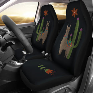 Brown Llama Car Seat Covers Chalky Style Cactus and Flower Design Printed on Black Fabric