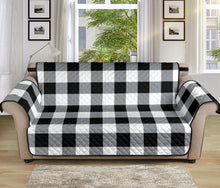 "Load image into Gallery viewer, Buffalo Check Sofa Protector Slipcover Black, White and Gray 70"" Seat Width"