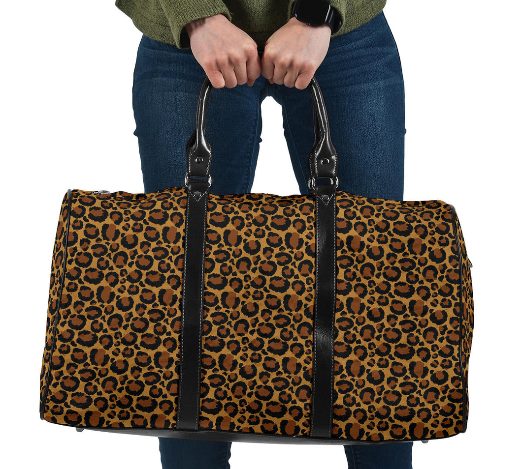 Leopard Print Travel Bag Duffel With Black Faux Leather Handles