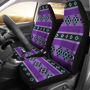 Purple Turquoise and Black Tribal Ethnic Aztec Car Seat Covers Boho Pattern