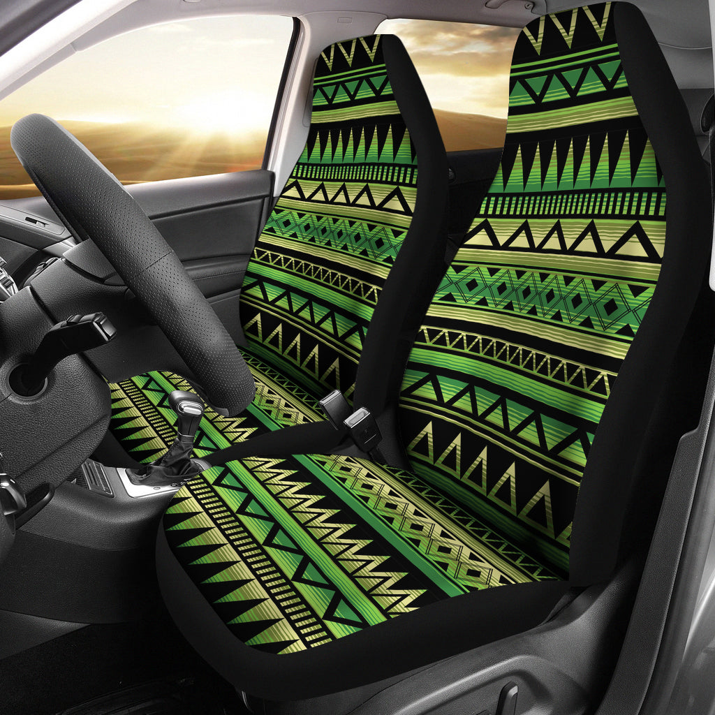 Green and Black Tribal Car Seat Covers Set Ethnic Aztec Pattern