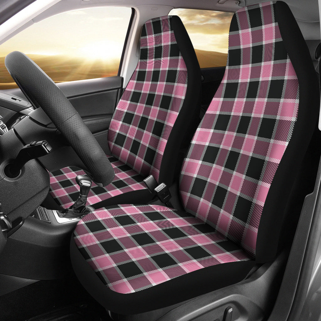 Blush Rose Pink Plaid Check Car Seat Covers