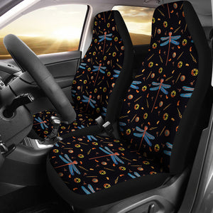Black With Steampunk Dragonfly Pattern Car Seat Covers Seat Protectors