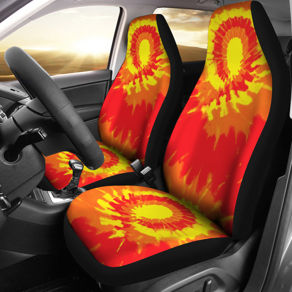 Red Orange and Yellow Tie Dye Car Seat Covers