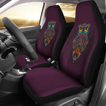 Load image into Gallery viewer, Dark Purple Ornate Owl Car Seat Covers