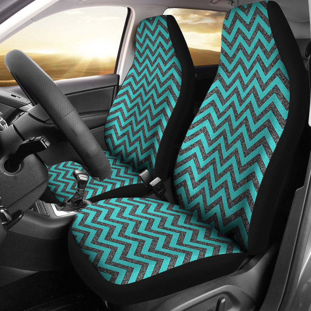 Rustic Teal and Gray Marble Chevron Car Seat Covers
