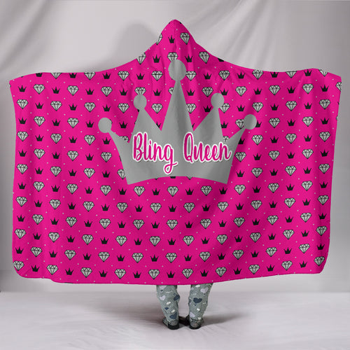 Bling Queen Hooded Blanket Pink Sherpa Lined Paparazzi Swag