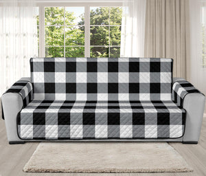 Buffalo Check Oversized Sofa Couch Slipcover in Black White and Gray