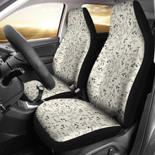 Load image into Gallery viewer, Off White With Black and Gray Leaves Car Seat Covers