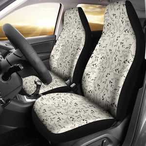 Off White With Black and Gray Leaves Car Seat Covers