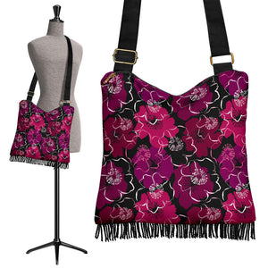 Black With Colorful Flowers Boho Bag With Fringe and Crossbody Strap